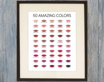 LipSense Color Chart - Printable Digital File 8x10