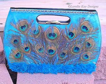 Proud Peacock Handbag One-of-a-Kind Mixed Media Up Cycled Art Purse