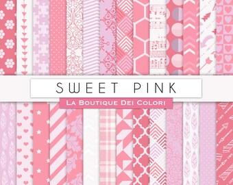 Sweet Pink Digital Paper Pack. Digital Scrapbook Pink paper patterns, Instant Download for Commercial Use.