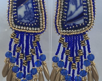 Blue China Earrings