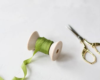 """Olive Green Hand-Dyed Silk Ribbon (with Wooden Spool) - 5 yards - 1/4"""" wide"""