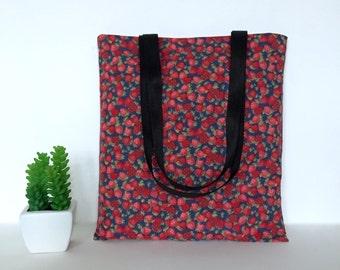 Strawberry Tote Bag, Strawberry Tote, Strawberry Bag, Cotton Canvas Tote Bag, Canvas Tote, School Tote Bag, Fruit Tote bag, Casual Tote Bag