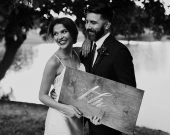 Custom wedding monogram / hand-lettered names for wedding invitations /