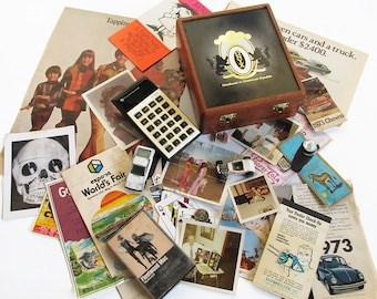 Vintage Cigar Box Full of 1970s Trinkets & Treasures - 1970s Memory Box - Generation X and Baby Boomer Memories