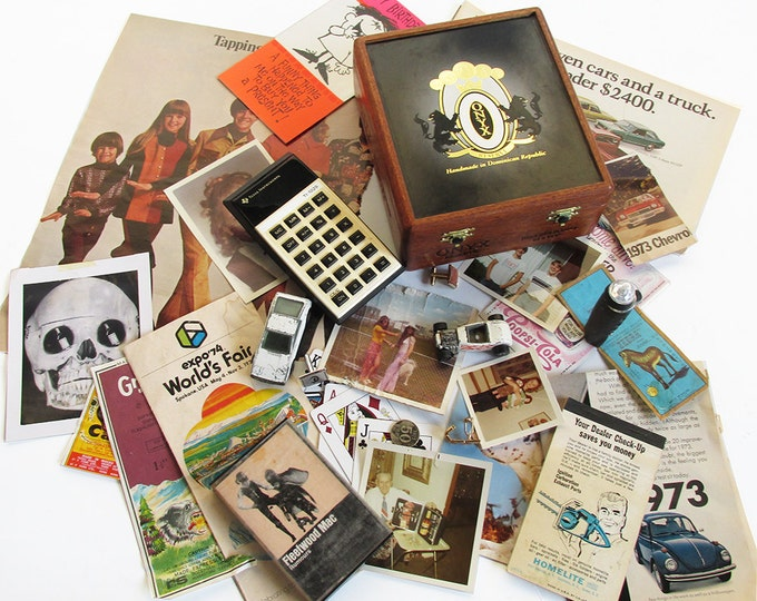 Featured listing image: Vintage Cigar Box Full of 1970s Trinkets & Treasures - 1970s Memory Box - Generation X and Baby Boomer Memories