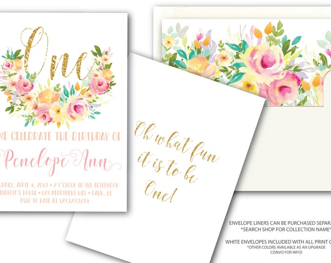 Pink and Gold First Birthday Invitation Gold Glitter Mint Peach One Pretty Watercolor Floral Invite Oh What Fun to be One / OAHU COLLECTION
