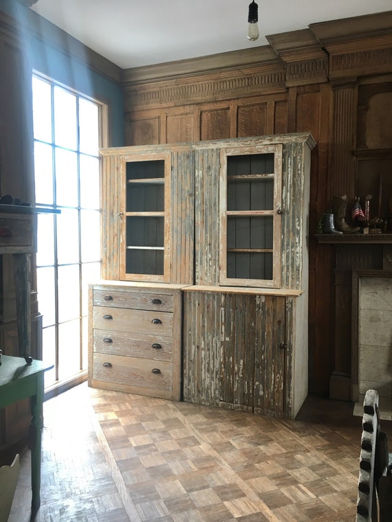 PAIR of Vintage Farmhouse Cabinets, Chippy Step Back Cupboard, Chippy White Furniture, Farmhouse Furniture