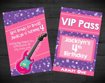 """Rock Star Birthday VIP Pass - Party Pass - Music Invitation - Guitar Invite - Printable or Printed - SHIPPING INCLUDED - 3.5 x 2.25"""""""