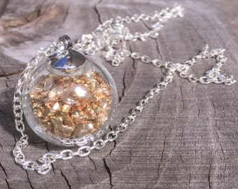 Glass Bubble with Small Gold Nuggets Pendant Necklace