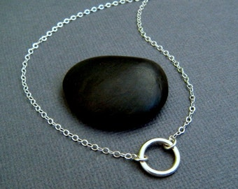 """silver circle necklace. small sterling ring. simple geometric. delicate. everyday. zen jewelry. eternity. open circle. 3/8"""""""