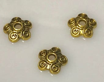 Antique Gold Plated Bead Cap, 4x10mm, Scroll Work, 100 Pieces,  Findings, Supplies, Beads