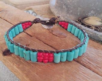 Blue and red ladder stitch bracelet