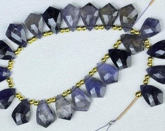 20 pieces faceted fancy Iolite briolette beads 10 x 16 mm approx