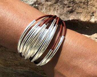 Red Brown, Leather, Wrap Bracelet Bracelet, Silver NoodleTubes  - Leather Bracelet with Magnetic Clasp