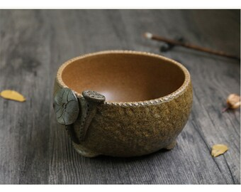 Free Shipping Chinese Calligraphy Hand Made Crude Pottery 20x8.5cm Brown Color Brush Wash Water Bowl - 0059 Orientalartmaterial Supply