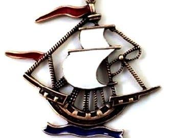 Corsair enameled brass boat pendant