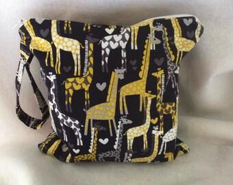 Giraffe Wet Bag//Giraffe bikini holder//Giraffe Michael Miller wet bag-Four sizes