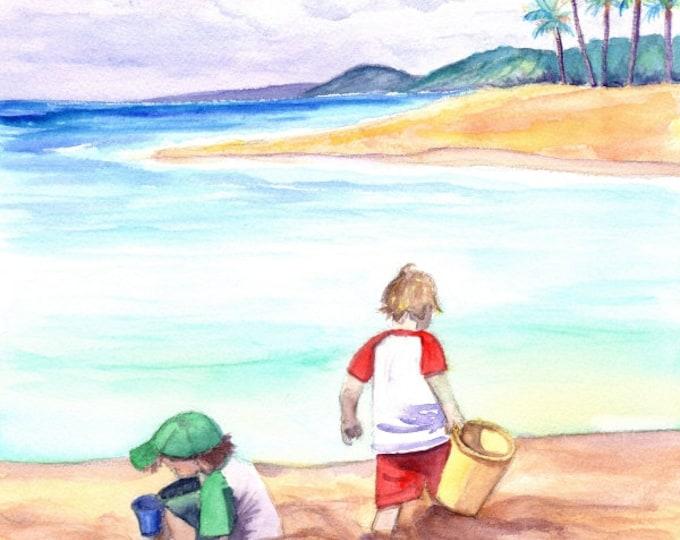 Poipu Beach Kauai,  Fine Art Print 8x10,  Kauai Art, Kids at the Beach,  Childrens Wall Art, Ocean Decor, Beach Art, Keiki, playing in sand