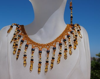 Yellow-Jacket Beaded Drop/Dagger Necklace in Amber and Black with Matching Earrings