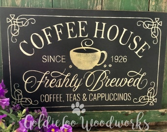 Coffee House, Word Art, Typography, Subway Art, Primitive Wood Wall Sign, Handmade