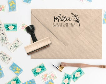 Modern Calligraphy // Leaf Design Address Stamp - Handwritten Calligraphy Address Stamp - Custom Calligraphy Script Address - Stationery