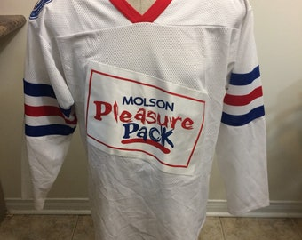 Vintage Molson Canadian pleasure pack hockey jersey size medium 1990s beer cold one