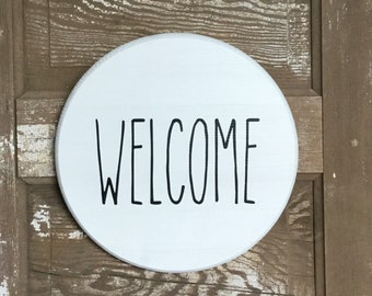 "Decorative 12"" Welcome White Wood Round Door Decor, Wall Decor, Rae Dunn inspired,"