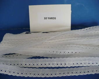 10 Yards 1/2 Inch White Cotton Eyelet Lace Trim
