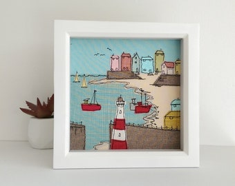 Cornwall textile art by Lillyblossom. Free-motion machine embroidery seaside fishing village lighthouse harbour seagull boats beach coast