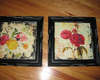 """TWO FRAMED MIRROR Paintings Frames Measure 13"""" x 13"""" Each"""