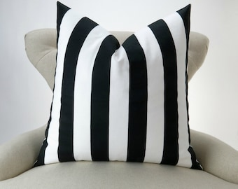 Black Stripe Pillow Cover -MANY SIZES- White canopy awning decorative throw euro sham cushion modern contemporary premier prints custom bold