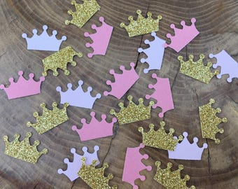 150 Glitter Gold and pink Confetti pieces. Crown confetti, Table decoration, princess party
