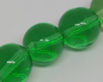 Green German Glass Rounds, 6mm
