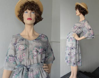 Sheer Gray Vintage Dress With Pink Flowers And Boats // Belted // Philip Collection