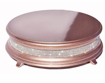 "18"" rose gold wedding cake stand with crystal band of bling"