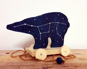 Great Bear Pull-Toy / Ursa Major, Bear Totem, constellation wood toy, stars home decor, constellations art, bear ornament, star sign