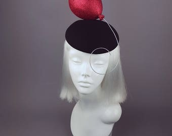 Red Balloon Hat, Circus IT Clown, Statement Headpiece, Birthday Party Hair Accessory, Royal Ascot Wedding Ladies Day, Horror, Kawaii, Kitsch