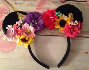 Mouse ears headband- Couture headband-Hidden mouse ears- flower couture headband