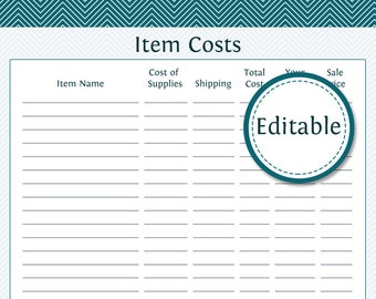 Item Costs - Fillable - Business Planner - Printable Organizational PDF - Instant Download