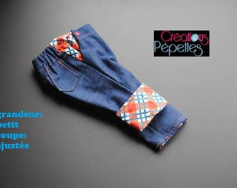Scalable jeans, size small, slim orange and blue Plaid