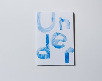 Under - risograph art zine, illustration A6 origami book.