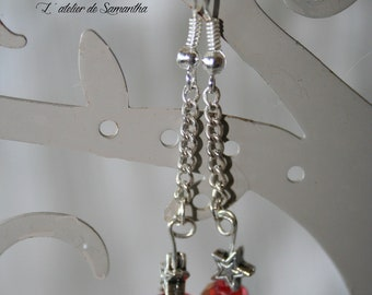 Red Crystal and star earrings