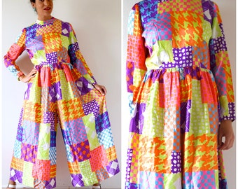 Vintage 60s 70s Dayglo Psychedelic Patchwork Wide Legged Palazzo Print Jumpsuit (size medium, large)