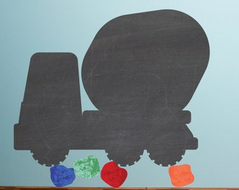 Chalkboard Cement Mixer Wall Decals Large- Chalkboard Wall Decals