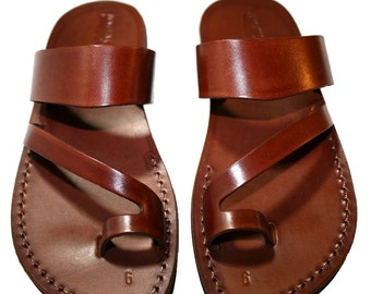 Brown Roman Leather Sandals For Men & Women - Handmade Sandals, Leather Flats, Leather Flip Flops, Unisex Sandals, Brown Leather Sandals