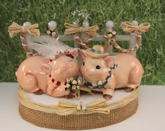 Bride & Groom Pig Wedding Cake Topper / Barn Yard Collection / Farm Cake Topper