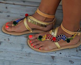 """Women Sandals, Handmade Sandals, Greek Leather Sandals, Boho Sandals, Gypsy Sandals, Luxury Sandals, Hippie Sandals """"Gold Beauty"""""""