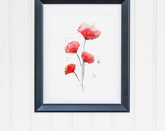 Watercolor Poppies, Watercolor Poppy Print, Original Watercolor Art Print, Red Black Wall Decor, Red Poppies, Signed Print, Poppy Painting
