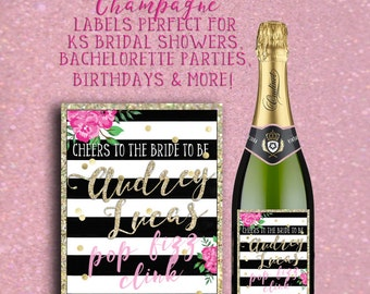 Kate Spade Bridal Shower Wine Labels * Wine Labels for Kate Spade Birthday Party * Perfect for KS Mimosa Bar * Custom Kate Spade Wine Labels