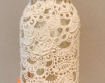 White Lace Henna Mason Jar